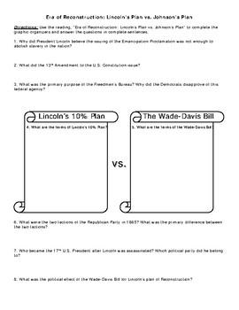 Era of Reconstruction: Lincoln's Plan vs. Johnson's Plan