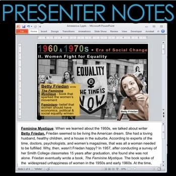 Era of Social Change(1960s-1970s) PowerPoint with Video Clips + Presenter Notes