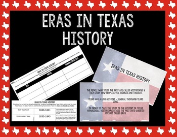 Eras in Texas History || Texas History Introduction or End of the Year Activity