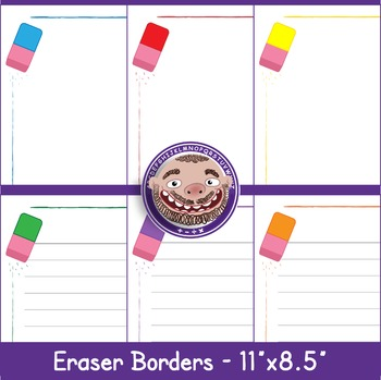 Eraser Borders 6 Bright Colors