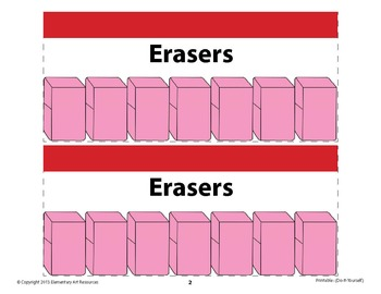 Erasers Labeling Cards for Bins or Labels & Classroom Organization