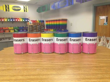 Erasers Labeling Cards for Bins or Labels & Classroom Orga
