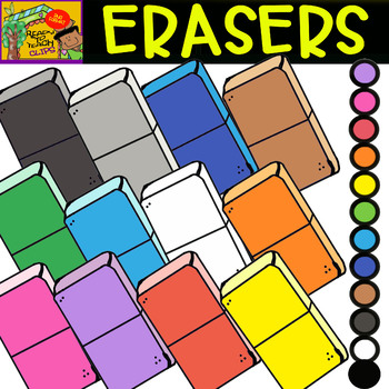 Erasers - School Supplies - Cliparts set - 12 Items