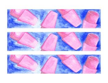 Erasers Watercolor Bulletin Board Border Printable Full Color PDF School