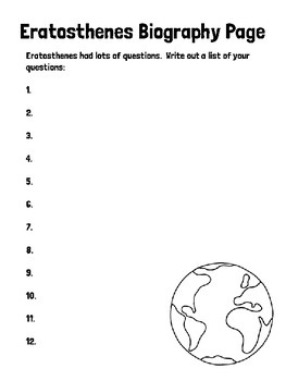 Eratosthenes Biography Notebooking Pages