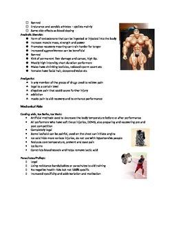 Ergogenic Aids Handout - sport, health, physical education, science
