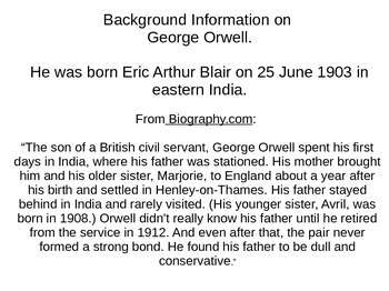 Eric Blair: The Man Who Was George Orwell