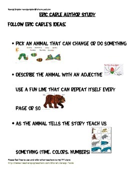 Eric Carle Author Study Checklist
