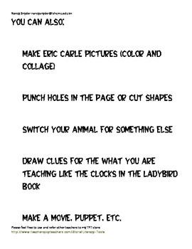 Eric Carle Author Study Checklist