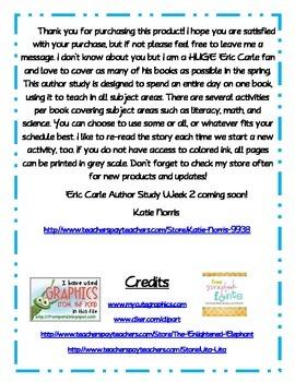 Eric Carle Author Study Week 1