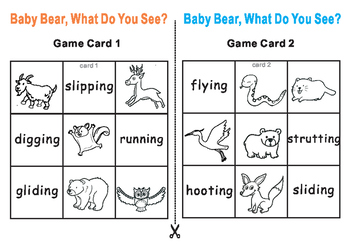 BABY BEAR, What Do You See Eric Carle-Tic Tac Toe Bingo Game Cards