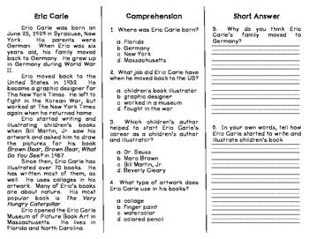 Eric Carle Biography Comprehension Trifold FREEBIE