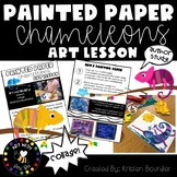 Painted Paper Chameleons Art Lesson