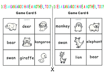 Eric Carle Does a kangaroo have a mother? Tic Tac Toe Bingo Game
