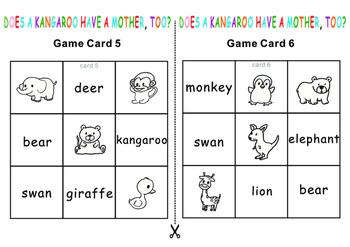 Eric Carle Does a kangaroo have a mother? Tic Tac Toe Bingo Game