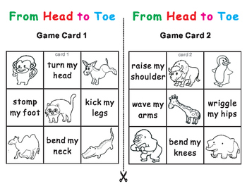 From Head to Toe Eric Carle -Tic Tac Toe Bingo Game Cards