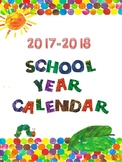 Eric Carle Inspired 2017-2018 School Year Calendar