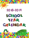 Eric Carle Inspired 2018-2019 School Year Calendar