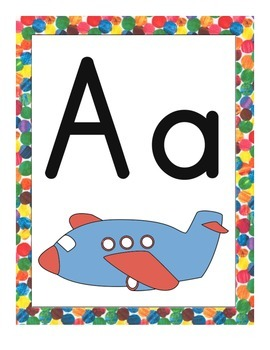 Eric Carle Inspired Classroom - Alphabet Posters with Pictures - Spanish