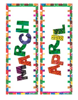 Eric Carle Inspired Classroom - Months of the Year - Calendar Headings