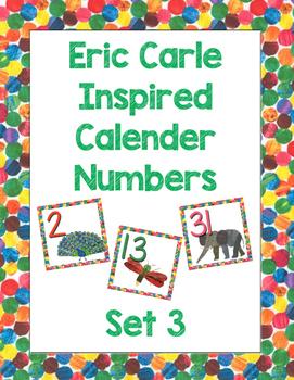 Eric Carle Inspired Calendar Numbers - Set 3