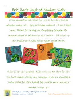 Eric Carle Inspired Classroom - Butterfly Lifecycle Calendar Numbers