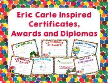 Eric Carle Inspired Certificates, Awards and Diplomas
