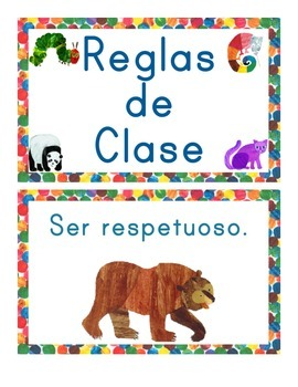 Eric Carle Inspired Classroom Rules - Spanish