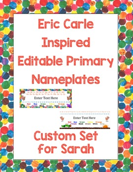 Eric Carle Inspired Classroom - Editable Primary Name Plat
