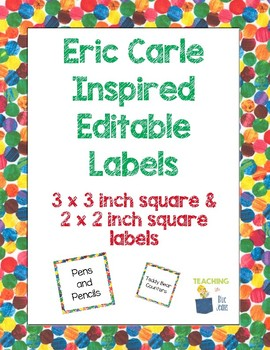 Eric Carle Inspired Classroom Editable Square Labels