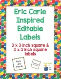 Eric Carle Inspired Classroom | Editable Square Labels | Classroom Decor