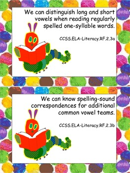 "Eric Carle Inspired Common Core Objectives ELA ""We Can"" Statements Second Grade"