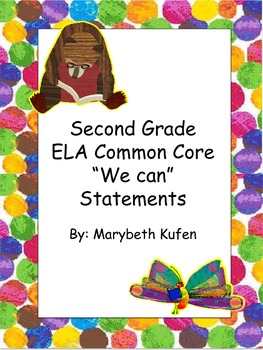 """Eric Carle Inspired Common Core Objectives ELA """"We Can"""" St"""