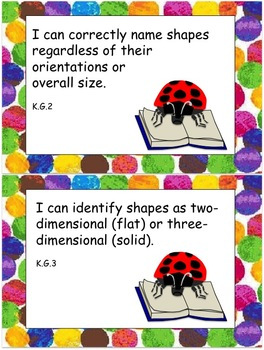 "Eric Carle Inspired Common Core Objectives Kindergarten Math ""I can"" Statements"