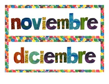 Eric Carle Inspired Classroom - Days of the Week / Months of the Year - Spanish
