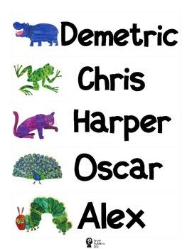 Eric Carle Inspired Name Tags (CUSTOM)