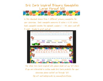 Eric Carle Inspired Classroom - Primary Name Plates or Desk Tags - Large Format