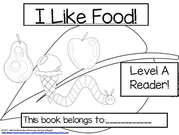 """Printable Level A Guided Reading Book """"I Like Food"""""""