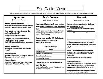 Eric Carle Menu Appetizer, Main Course, and Dessert