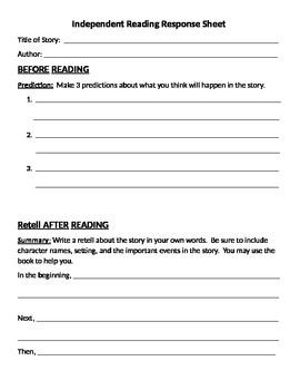 Eric Carle Menu and Reading Response Sheets 2