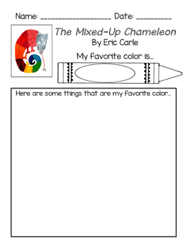 Eric Carle - Mixed Up Chameleon Response Sheet