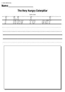 """Eric Carle """"The Very Hungry Caterpillar""""-Text to Self Writing Response Worksheet"""