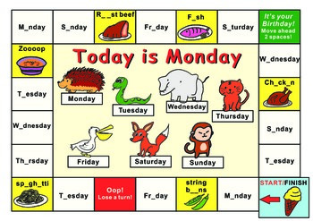 Eric Carle Today is Monday--Gameboard