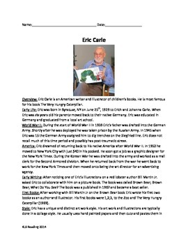 Eric Carle - all about his life - review article questions vocab activities