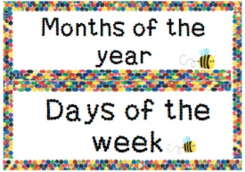 Eric Carle inspired  flashcards- Months of the year and days of the week
