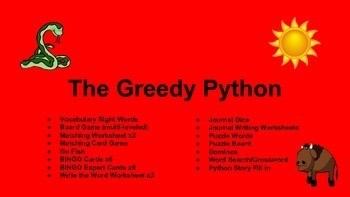 Eric Carle's The Greedy Python HUGE ACTIVITIES PACK (CCSS