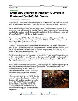 Eric Garner/NYPD Officer Essay (Criminal Justice)