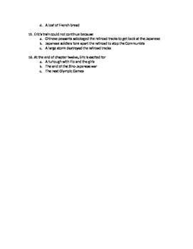Eric Liddell Chapters 10-12 Quiz
