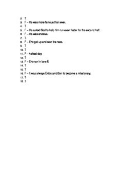 Eric Liddell Chapters 4-6 Quiz