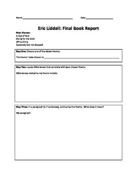 Eric Liddell: End of Novel Book Report